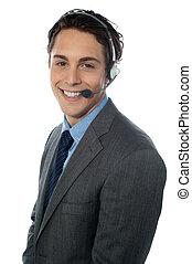 Male customer service representative smiling