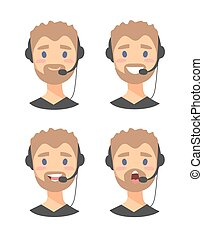Male customer support phone operator - Portrait of speaking...