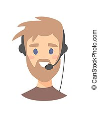 Male customer support phone operator