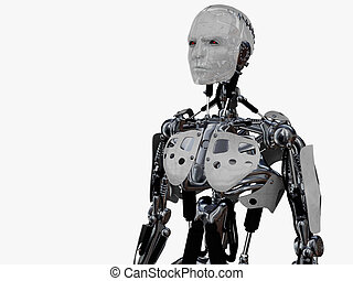 Male cyborg gazing into the future. - A male cyborg gazing...