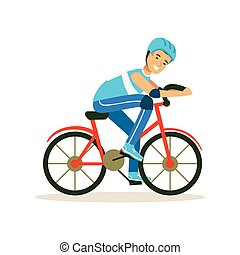 Male cyclist character riding bicycle, active sport lifestyle vector Illustration