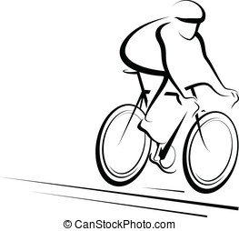 Male Cyclist - Vector illustration of a man cycling.