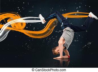 Male dancer balancing on forearms