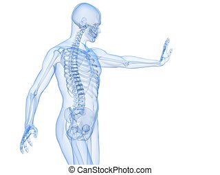 male defense pose - 3d rendered illustration of a male ...