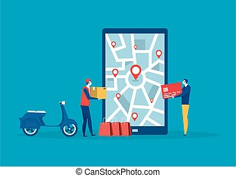 Male delivery searching for a location on; mobile phone map.Order geolocation vector illustrator