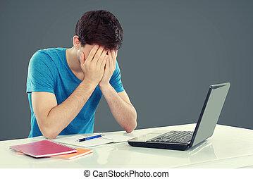 male deltagare, trött, av, studera