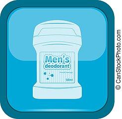 Male deodorant stick icon on a blue button