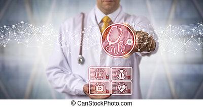 Male Diagnostician Using Virtual Stethoscope App