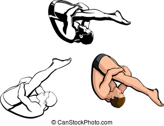Male Diver - Vector illustration of a male diver performing...