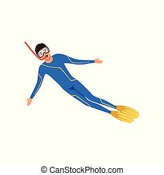 Male diver with a scuba diving suit and flippers, water sport activity vector Illustration on a white background