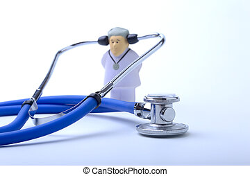 Male doctor and stethoscope in clinic office as medical concept.