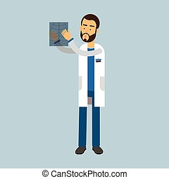 Male doctor character doctor looking at xray, medical care vector Illustration