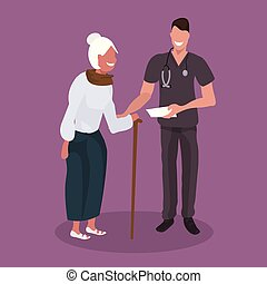 male doctor explaining prescription to senior patient physician man supporting elderly woman with walking stick healthcare concept flat full length