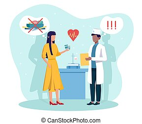 Male doctor gives prescription medicine to woman with anorexia. Concept of eating disorders, psychological problems. Worried girl with pills listening to doctor. Flat cartoon vector illustration