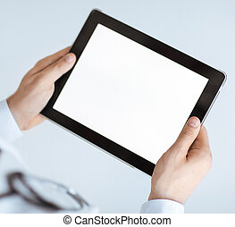 male doctor holding tablet pc - close up of male doctor...