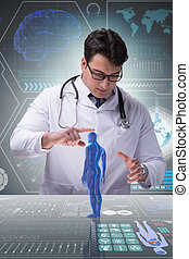 Male doctor in futuristic medical concept
