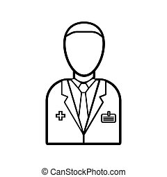 Male doctor of medicine in a white coat with a badge, health worker for the treatment of diseases of patients, a simple black and white icon on a white background. Vector illustration