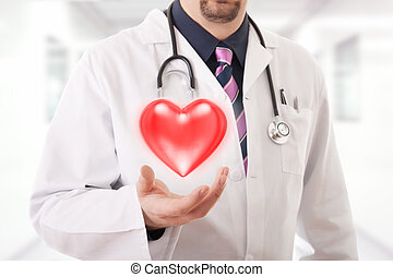 Male doctor showing a red heart