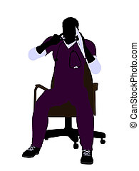 Male Doctor Sitting On A Chair Illustration Silhouette -...