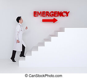 doctor stepping up on stairs to emergency room - male doctor...