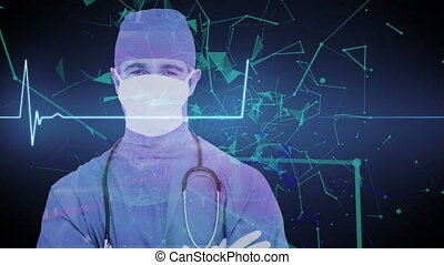 Animation of male doctor wearing face mask, heart rate monitor recording, medical data processing and plexus networks moving. Global networking connections concept digital composite.