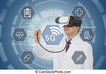 Male doctor wearing virtual reality glasses. 5G Medical Concept. Computer Graphic.