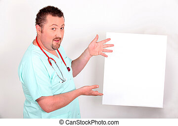 Male doctor with blank panel