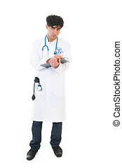 Male doctor with clipboard