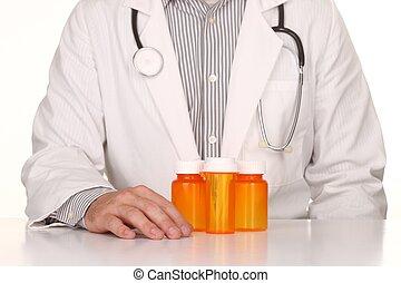 Doctor With Empty Orange Prescription Bottles