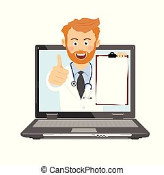 Male doctor with stethoscope and clipboard having consultation online on laptop