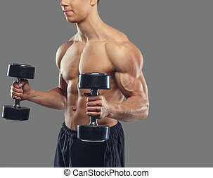Male doing biceps exercises.