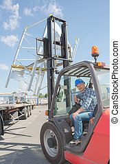 Male driver in forklift truck