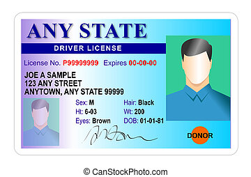 Illustration of a male drivers license, blue and white background