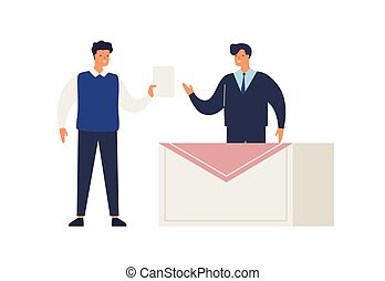 Male elector give ballot or voting choosing candidate at ...