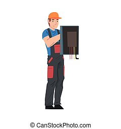 Male Electrician Engineer Repairing Control Panel, Electricity Maintenance Service Worker Character in Uniform and Cap Cartoon Style Vector Illustration