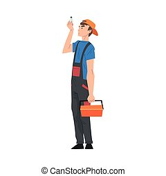 Male Electrician Engineer with Toolbox Looking at Light Bulb, Professional Worker Character in Uniform Repairing Electrical Equipment Cartoon Style Vector Illustration
