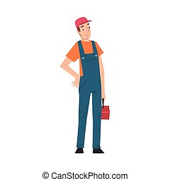 Male Electrician Engineer with Toolbox, Professional Worker Character in Uniform Repairing Electrical Equipment Cartoon Style Vector Illustration