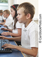 Male Elementary Pupil In Computer Class