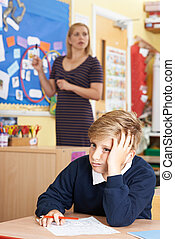 Male Elementary School Pupil Struggling In Class
