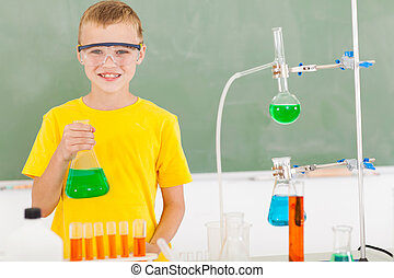 male elementary school student in the lab
