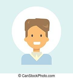 Male Emotion Profile Icon, Man Cartoon Portrait Happy Smiling Face