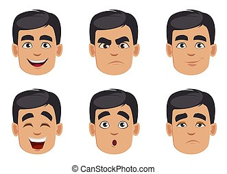 Male emotions set. Pack of facial expressions
