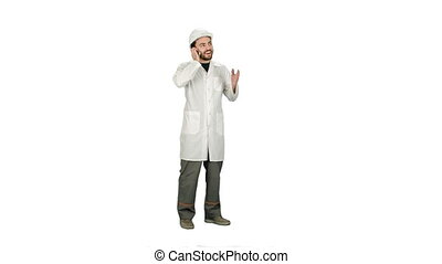male engineer talking on the phone while supervising construction on white background.