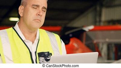 Male engineer using laptop 4k - Male engineer using laptop ...