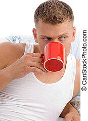 male enjoying coffee