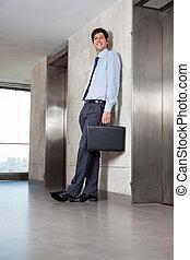 Male Entrepreneur Standing Near Lift