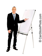 Male executive presenting on flip chart