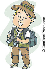 Male Explorer - Illustration of a Man Dressed in Camping...