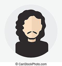 male face avatar, logo, template, pictogram, button.