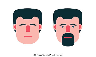 Male face says yes and no. Cartoon animation with alpha...